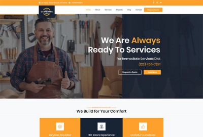 Carpenter, Renovation Services And Craftsman Business WordPress Theme